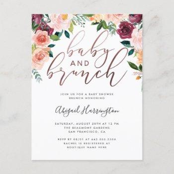 Rose Gold Watercolor Floral Brunch Baby Shower Invitation Postcard