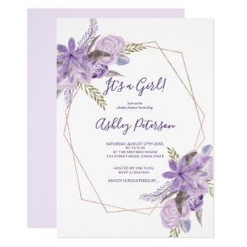 Rose Gold Watercolor Purple Floral Baby Shower Invitation