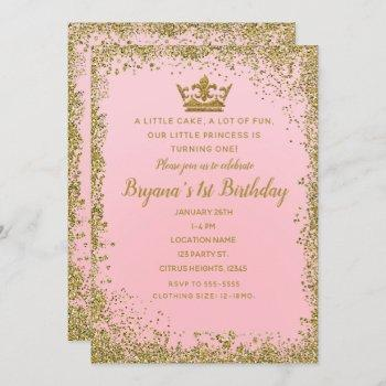 Rose Pink & Gold Glitter Crown 1st Birthday Party