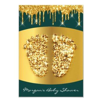 Royal Baby Shower Feet Girl Boy Gold Green Invitation