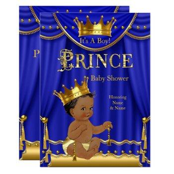 Royal Blue Crown Prince Baby Shower Gold Ethnic Invitation