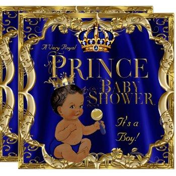 Royal Blue Gold Crown Prince Baby Shower Ethnic Invitation