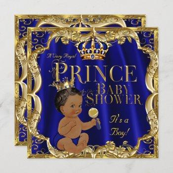 Royal Blue Gold Crown Prince Baby Shower Ethnic