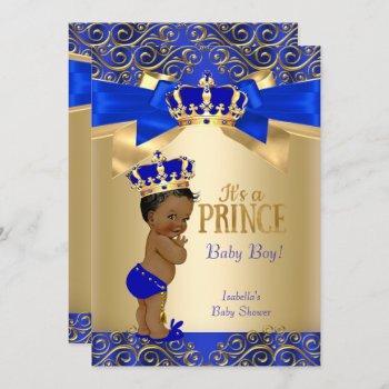 Royal Blue Gold Damask Prince Baby Shower Ethnic Invitation