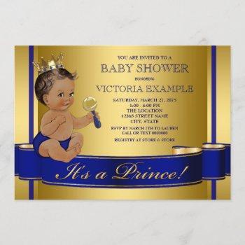 Royal Blue Gold Ethnic Prince Baby Shower Invitation