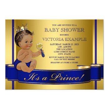 Royal Blue Gold Ethnic Prince Baby Shower Invitation