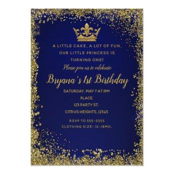 Royal Blue & Gold Glitter Crown 1st Birthday Party Invitation