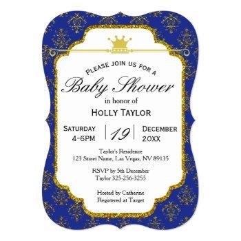 Royal Blue Gold Prince Baby Shower Invitation