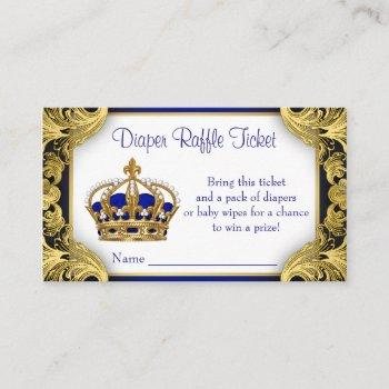 Royal Blue Gold Prince Diaper Raffle Ticket Enclosure Card