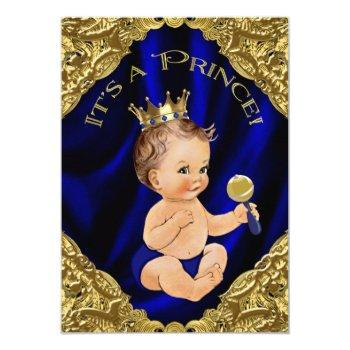 Royal Blue Gold Satin Prince Baby Shower Invitation