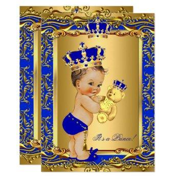 Royal Blue Prince Crown Baby Shower Bear Brunette Invitation