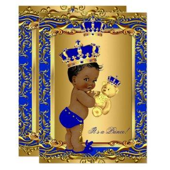 Royal Blue Prince Crown Baby Shower Bear Ethnic Invitation