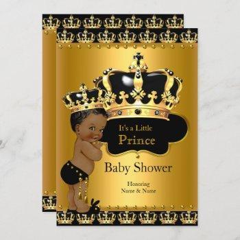 Royal Prince Baby Shower Black Gold Ethnic Invitation