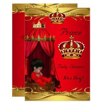 Royal Prince Baby Shower Boy Regal Red Crown Invitation