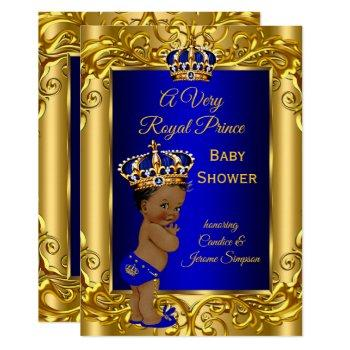 Royal Prince  Baby Shower Royal Blue Gold Ethnic Invitation