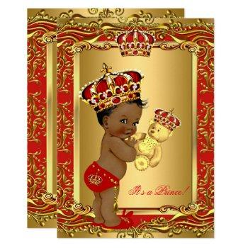 Royal Red Prince Crown Baby Shower Bear Ethnic Invitation