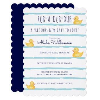 Rub-a-dub-dub Cute Yellow Rubber Ducky Baby Shower Invitation