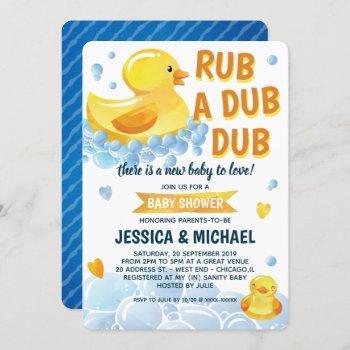 Rub A Dub Dub Rubber Duck Baby Shower Invitation