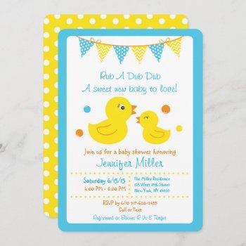 Rubber Duck Baby Shower Die Cut Invitation