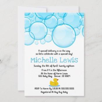 Rubber Duck Bubbles Baby Shower Invitation