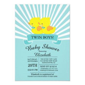 Rubber Duck Twin Boys Baby Shower Invitation