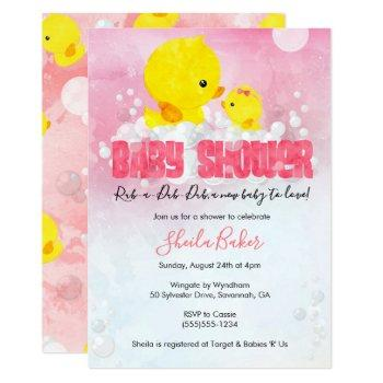 Rubber Ducky Baby Shower Invitation | Girl Duckie