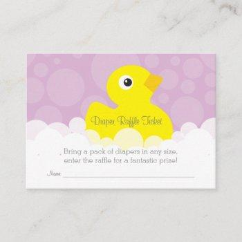 Rubber Ducky Diaper Raffle Ticket - Lilac Enclosure Card