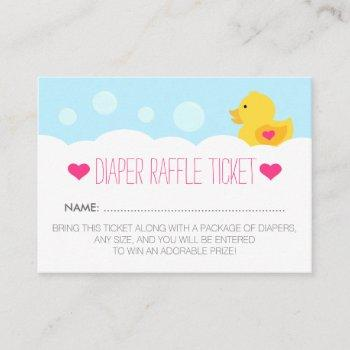 Rubber Ducky Girl Baby Shower Diaper Raffle Ticket Enclosure Card