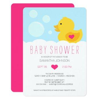 Rubber Ducky Pink Girl Baby Shower Invitation