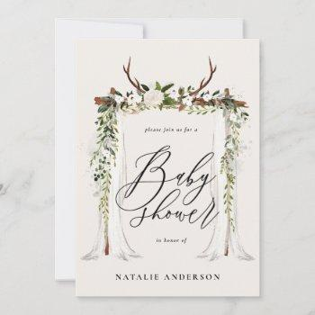 Rustic Antler And Foliage Baby Shower Invitation