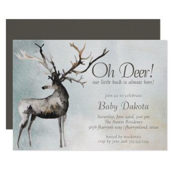 Rustic Antlers | Oh Deer Little Buck Baby Shower Invitation