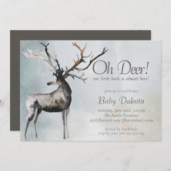 Rustic Antlers   Oh Deer Little Buck Baby Shower Invitation