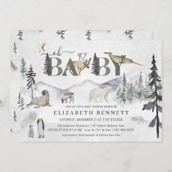 Rustic Arctic Animals | Baby Shower Invitation