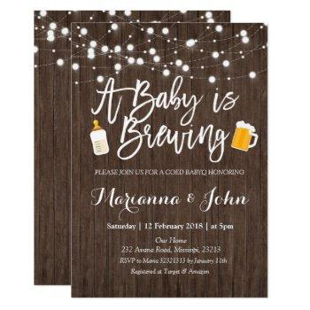 Rustic Baby Is Brewing Shower Invitation