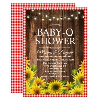 Rustic Baby Q Shower Bbq Sunflower Invitation