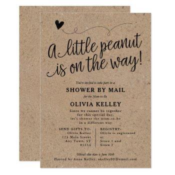 Rustic Baby Shower By Mail, Little Peanut, Kraft Invitation