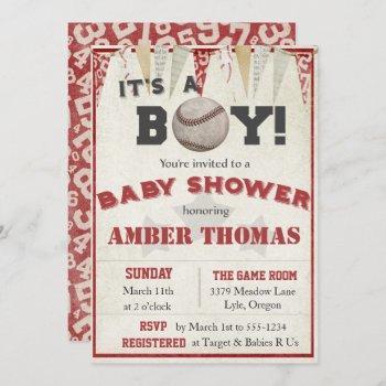 Rustic Baseball Baby Boy Shower Invitation