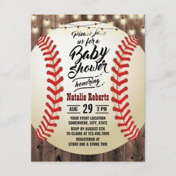 Rustic Baseball Barn Wood Sports Baby Shower Invitation