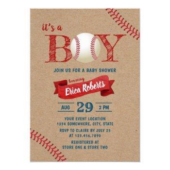 Rustic Baseball Boy Sports Theme Kraft Baby Shower Invitation