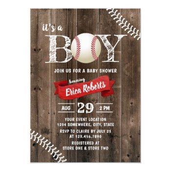 Rustic Baseball Sports Barn Wood Boy Baby Shower Invitation