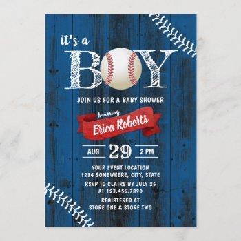 Rustic Baseball Sports Navy Wood Boy Baby Shower Invitation