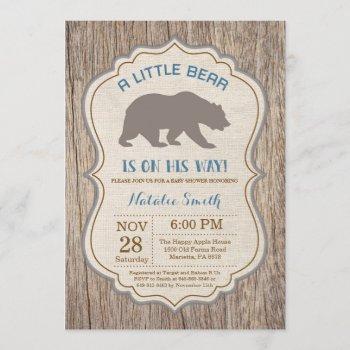 Rustic Bear Baby Shower Invitation Boy