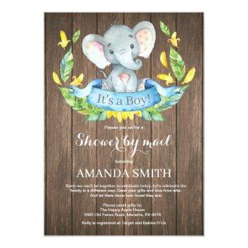 Rustic Boy Elephant Baby Shower By Mail Invitation