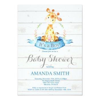 Rustic Boy Giraffe Baby Shower Invitation Blue