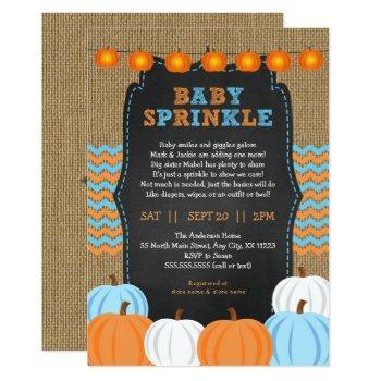 Rustic Boy Pumpkin Baby Sprinkle Invitation