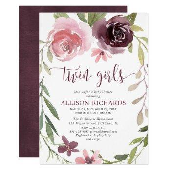 Rustic Burgundy Blush Twin Girls Baby Shower Invitation