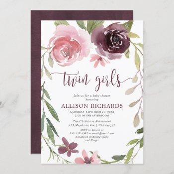 Rustic Burgundy Blush Twin Girls Baby Shower Invitation