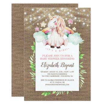 Rustic Burlap And Magical Unicorn Baby Shower Invitation
