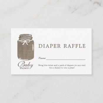 Rustic Burlap Mason Jar Baby Diaper Raffle Ticket Enclosure Card