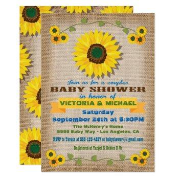 Rustic Burlap Sunflower Couples Baby Shower Invitation